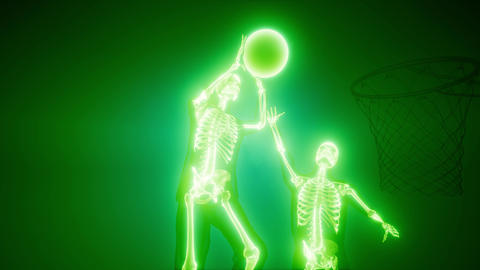 basketball game players with visible bones Archivo