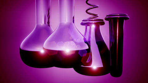 loop Laboratory glassware on colored background Footage