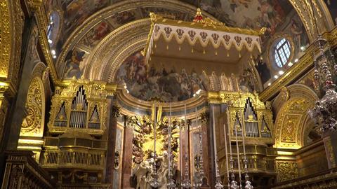 VALLETTA - MALTA, April, 2018: Interior of St John's Co-Cathedral - Valletta Footage