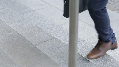 Man Shoes Walking Upstairs Footage