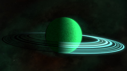 Green rotating planet with rings Animation