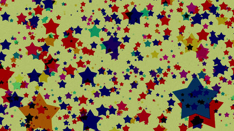 Cartoon Colored Stars Loop Background Animation