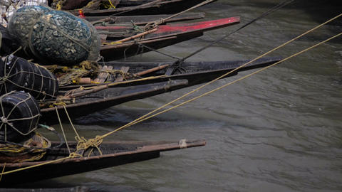 Mid Shot Of Anchored Boats In Ferry Over River Ganges stock footage