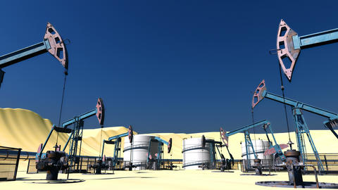 Looped Oil field with pumpjacks and pipeline 画像