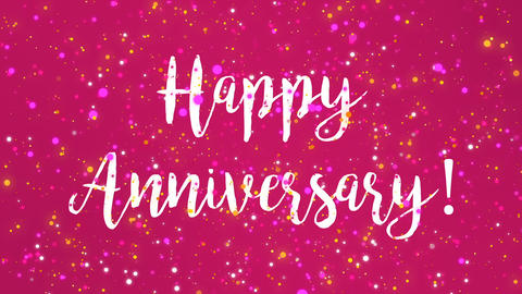 Sparkly pink Happy Anniversary greeting card video Animation
