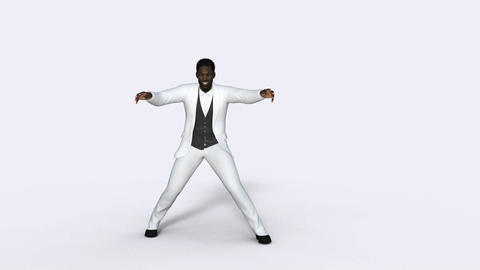 man african in a white suit dancing retro dance, White background,animation 画像