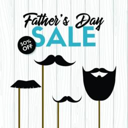 Father's day sale. Vector banner with photo props Vector