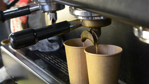 Brewing coffee cardboard disposable cups Live Action