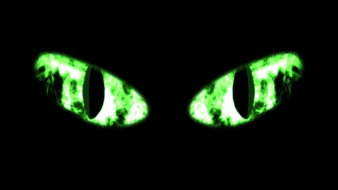 Ghastly Green Black Cat Eyeballs Animation