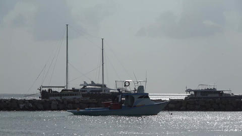 Boats at the pier in the Indian Ocean. Maldives video Archivo