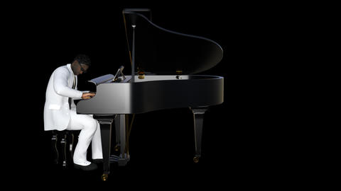African Man Looks At The Piano,loop,animation,transparent Background Animación