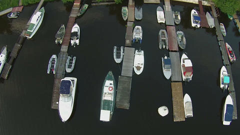 boats in a marina Aerial view Footage