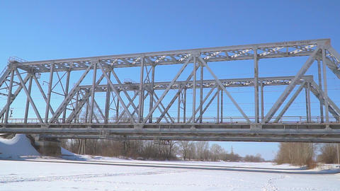 Railway bridge over the winter river Footage