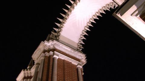 Arched construction of Tsaritsyno Museum in Moscow at night Footage