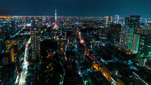 Time-lapse of Tokyo Tower in Minato, Tokyo Footage