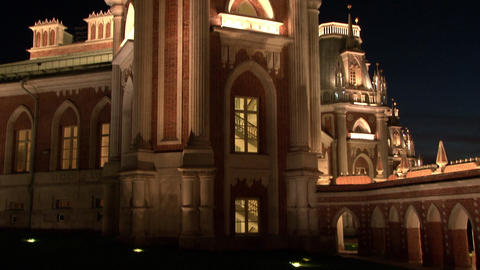 Towers and fortresses of red brick of Tsaritsyno Museum in Moscow at night Footage
