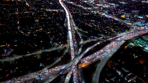 Aerial view of a massive highway intersection in Los Angeles Footage