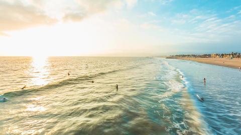 Sunset time-lapse of Venice Beach, CA GIF