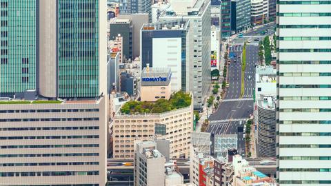 Time-lapse of traffic moving through Toranomon, Tokyo Footage