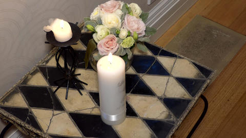 Shot of Flower & candle used for a funeral Image