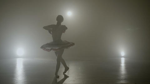 Young skinny graceful ballerina dancing on a dark stage as part of the audition Footage