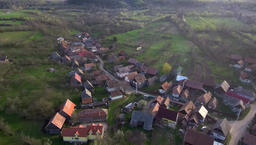 Aerial drone footage of village houses in Transylvania ビデオ