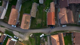 Aerial drone footage of village houses in Transylvania 영상물