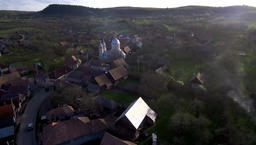 Aerial drone footage of village houses in Transylvania Image