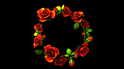Red Roses Frame On Black Text Space CG動画素材