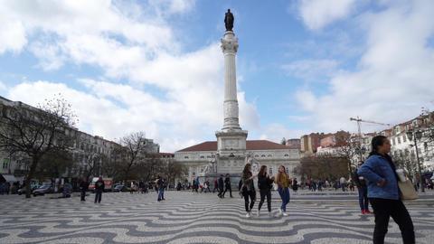 Dom Pedro IV Square in Lisbon Image