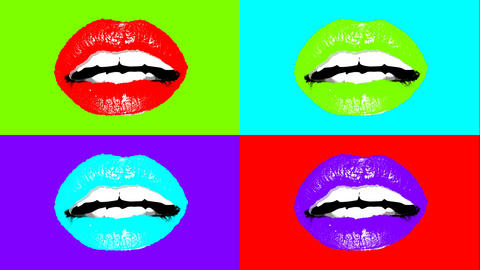 Animation of human lips in vivid colors, Stock Animation