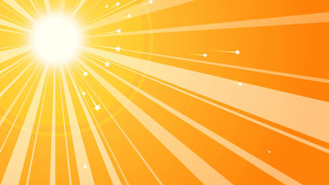Sun Retro Background with Starry Rays Animation