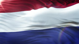Flag of the Netherlands waving in the wind. Seamless loop with highly detailed Image
