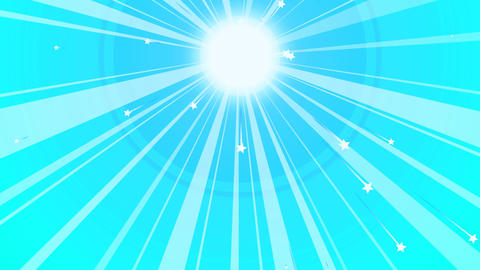 Sun Retro Background with Blue Beams Animation