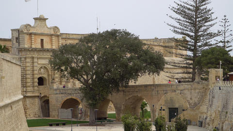 Ancient walls and fortifications of Mdina. Mdina is populer tourist destination Footage