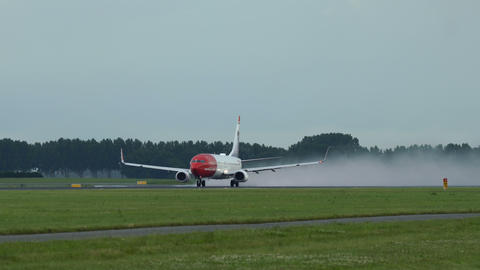 Boeing 737 of Norwegian Airlines (Georg Brandes livery) takes off Footage
