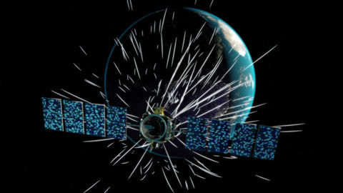 Satellite receiving signals from Earth Footage