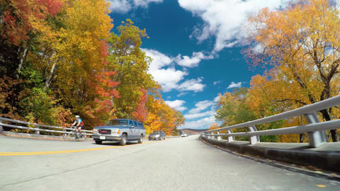 Autumn POV driving shot of travelers on the the Blue Ridge Parkway Live Action