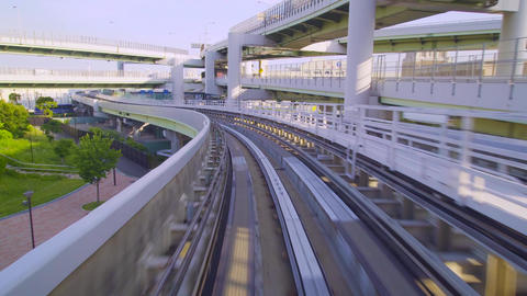 Point of view real-time ride through Kobe Japan on a onorail Live Action