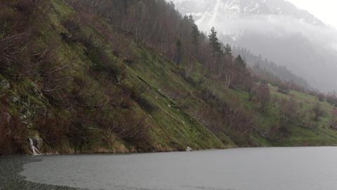 Mountain Lake on a Rainy Day Footage
