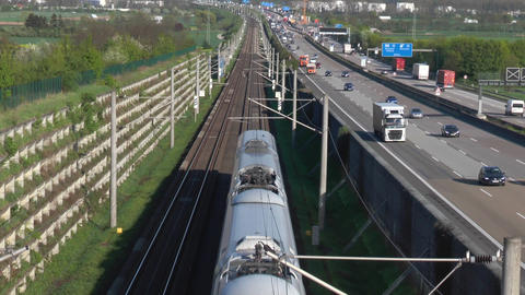 German highway A3 and ICE highspeed railroad track Live Action