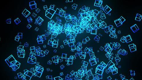 Global business network, Blue Cubes, Loop Stock Video Footage