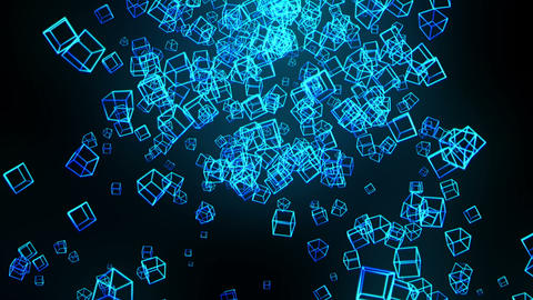 Global business network, Blue Cubes, Loop Animation