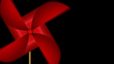 Red Paper Pinwheel Toy, Windmill Loop Animation CG動画