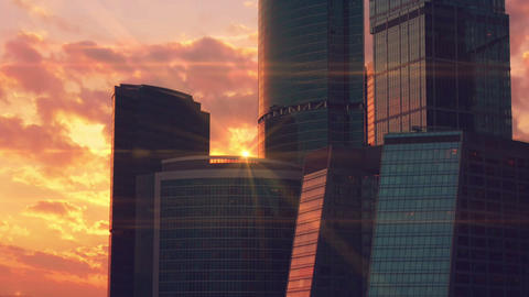 Skyscrapers on the background of a sunset time-lapse Footage