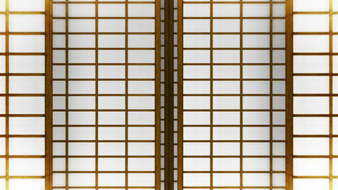 Japanese Style Shoji Door, Sliding Door Loop Animation Animation