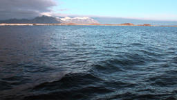 Beautiful horizon on background on water of Arctic Ocean in Svalbard Footage