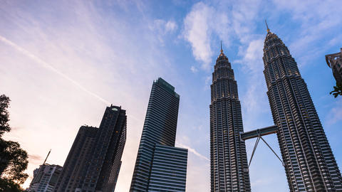 Sunset Time Lapse at Petronas Towers Footage