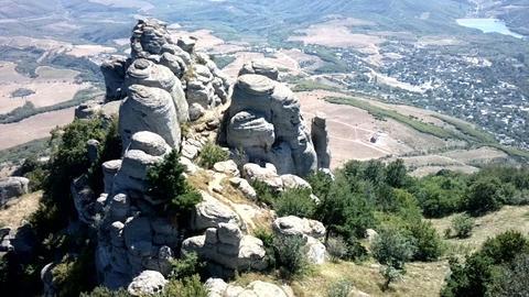 Million years damn pillars look at mountain valley Footage