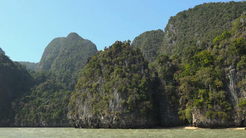 on the rocky coast Phang Nga Bay Footage